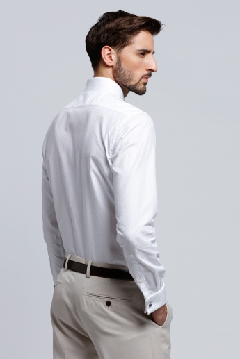 Arrow Textured Shirt with Long Sleeves and Patch Pocket