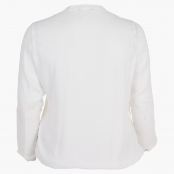Plus Size Collared Blouse with Ruffles and Long Sleeves