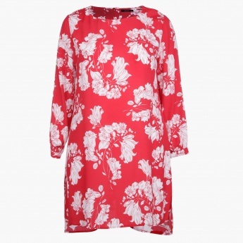 Plus Size Tunic with All Over Print and Long Sleeves