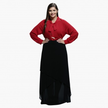 Plus Size Top with Tie-Up Neck and Long Sleeves