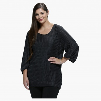 Plus Size Top with Round Neck and Twist Sleeves