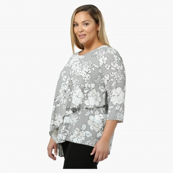Plus Size Floral Printed Double-layered Top