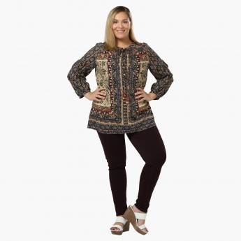 Plus Size Printed Top with Tie-up Neck