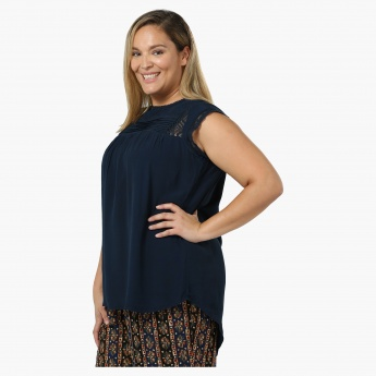 Plus Size Rayon Blouse with Lace Inserts