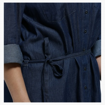 Plus Size Denim Shirt Dress with Spread Collar and Long Sleeves