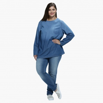 Plus Size Denim Jeans with Straight Fit