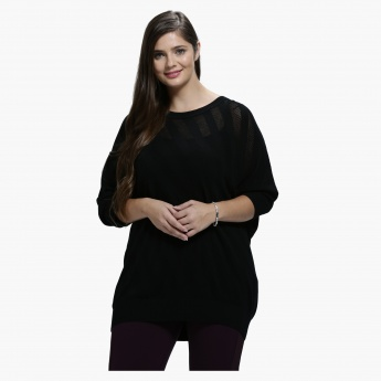 Plus Size Diagonal Jacquard Print Top with Round Neck and 3/4 Sleeves