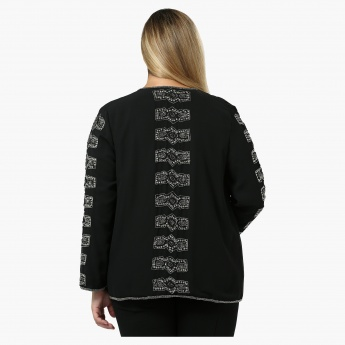 Plus Size Lace Embroidered Cardigan