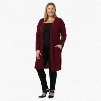 Plus Size Full-sleeved Open Front Long Rib Cardigan