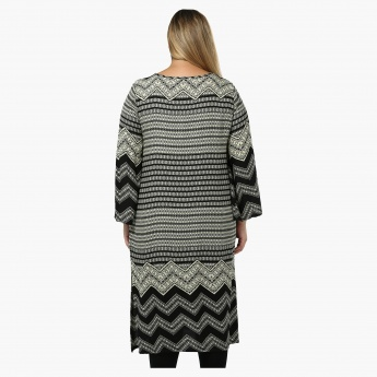 Plus Size Printed Full-sleeved Tunic with Tie-up Neck