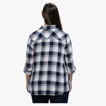 Plus Size Chequered Shirt with Spread Collar and Long Sleeves