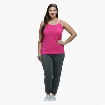 Plus Size Narrow Leg Trousers with Front Piping