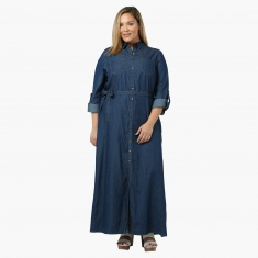 Plus Size Denim Maxi Dress with Tie-up at the Waist | Dresses ...