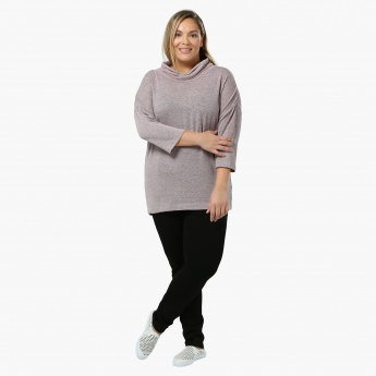 Plus Size Melange Cowl Neck Top