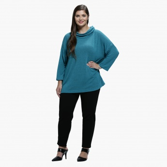 Plus Size Top with Cowl Neck and Long Sleeves