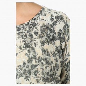 Plus Size Full-sleeved Floral Printed Sweater
