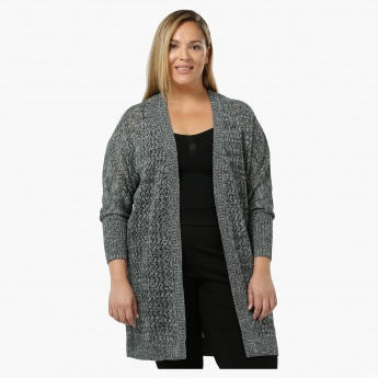 Plus Size Full-sleeved Open Front Knit Shrug