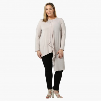 Plus Size Full-sleeved Layered Panel Top