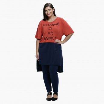 Plus Size Printed Asymmetrical T-Shirt with Round Neck and Short Sleeves