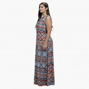 Plus Size Printed Maxi Dress with Round Neck