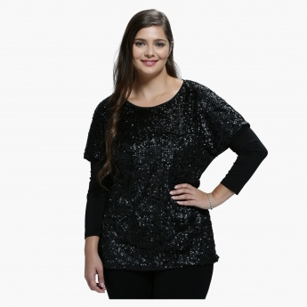 Plus Size Sequin Top with Round Neck and Long Sleeves