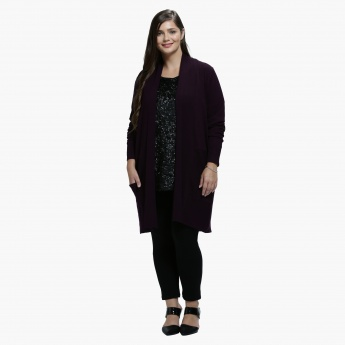 Plus Size Pocket Cardigan in Long Sleeves