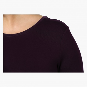 Plus Size Full-sleeved Knit T-shirt