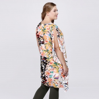 Floral Print Top with One-Sided Sleeve