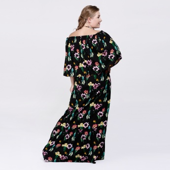 Printed Off Shoulder Maxi Dress