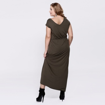 Round Neck Maxi Dress with Short Sleeves and Tie Up