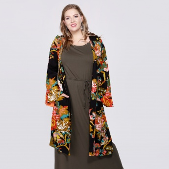 Printed Longline Kimono with Long Sleeves