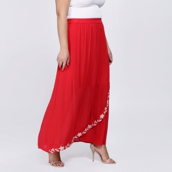 Maxi Skirt with Embroidery and Elasticised Waistband