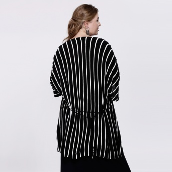 Striped Short Sleeves Shrug with Open Front