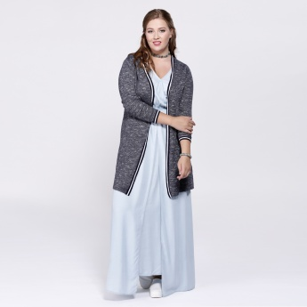 Melange Print Shrug with Long Sleeves