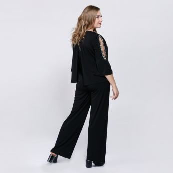 Jumpsuit with 3/4 Sleeves and Embellished Detail
