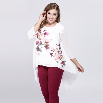 Floral Print Top with 3/4 Sleeves and High-Low Hem
