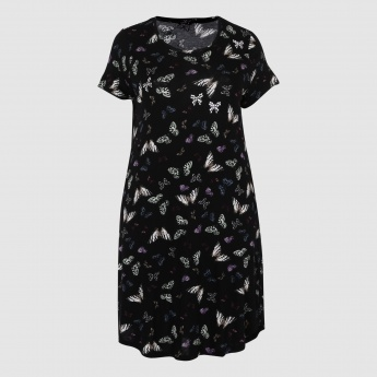 Butterfly Print Dress with Round Neck and Short Sleeves