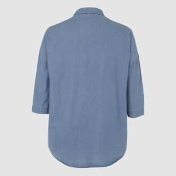 Shirt with 3/4 Sleeves and Pocket Detail