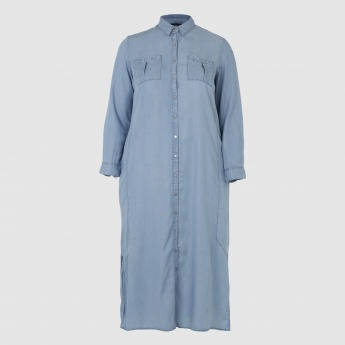 Shirt Dress with Long Sleeves and Patch Pocket