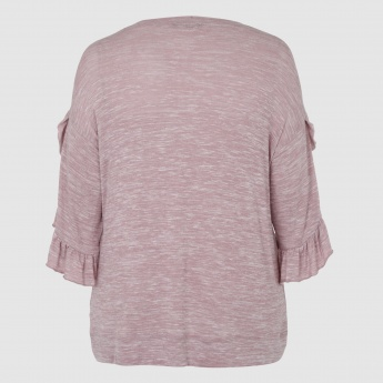 Fringe Sleeves Top with Round Neck