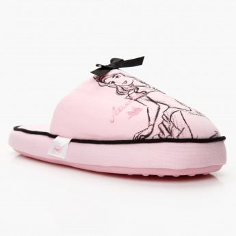 Printed Slippers with Bow Accent
