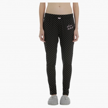 Snow White Polka Dots Leggings with Drawstring