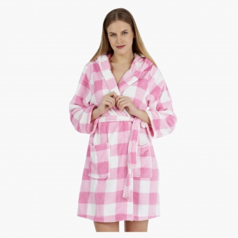 Chequered Hooded Robe