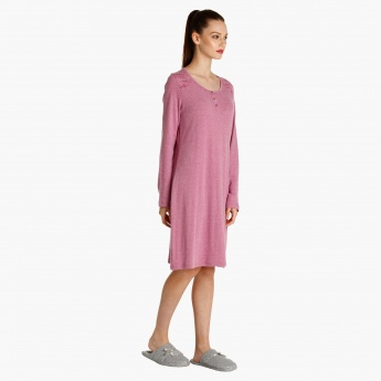 Textured Nightdress with Long Sleeves