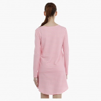 Striped Night Dress with Long Sleeves
