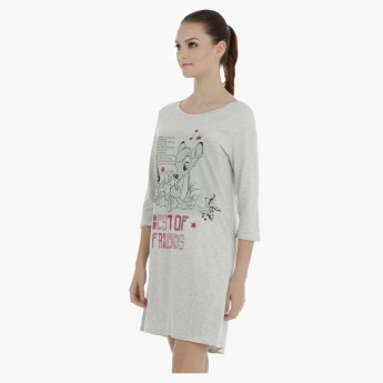Printed Sleep Dress with Boat Neck