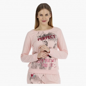 Bambi Printed T-shirt with Long Sleeves