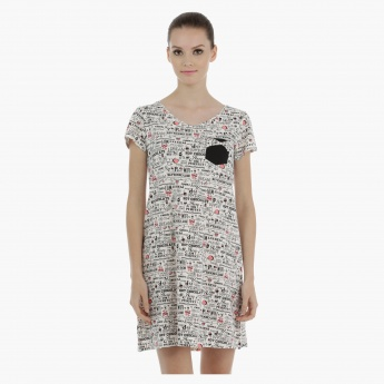 Printed Sleep Dress with Short Sleeves - Set of 2