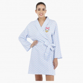 Daisy Duck Printed Long Sleeves Robe with Tie Ups