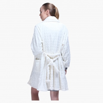 Textured Robe with Long Sleeves and Open Front